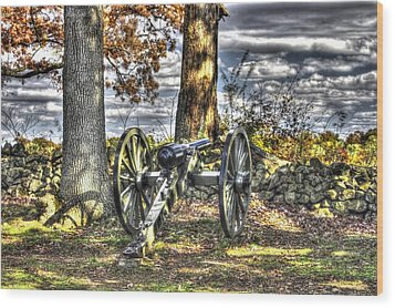 Wood Print featuring the photograph War Thunder - Lane's Battalion Ross's Battery-b2 West Confederate Ave Gettysburg by Michael Mazaika