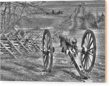 Wood Print featuring the photograph War Thunder - Poague's Battalion Brooke's Va Battery West Confederate Avenue Gettysburg by Michael Mazaika