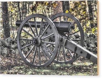 Wood Print featuring the photograph War Thunder - The Albemarle Va Artillery Wyatt's Battery-b1 West Confederate Ave Gettysburg by Michael Mazaika