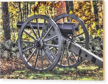 Wood Print featuring the photograph War Thunder - The Albemarle Va Artillery Wyatt's Battery-b2 West Confederate Ave Gettysburg by Michael Mazaika
