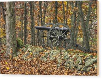 Wood Print featuring the photograph War Thunder - The Albemarle Va Artillery Wyatt's Battery West Confederate Ave Gettysburg by Michael Mazaika