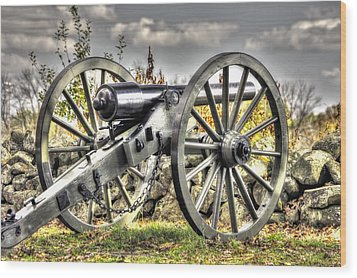 Wood Print featuring the photograph War Thunder - The Letcher Artillery Brander's Battery West Confederate Ave Gettysburg by Michael Mazaika