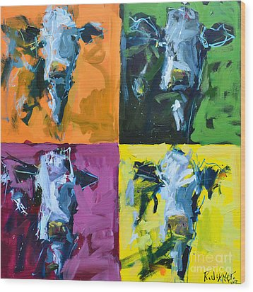 Warhol Cows Wood Print by Robert Joyner