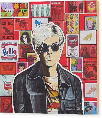 Wood Print featuring the mixed media Warhol by Joseph Sonday