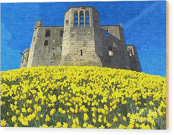 Warkworth Castle Daffodils Photo Art Wood Print