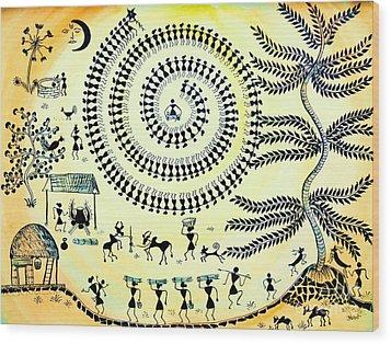 Warli Day Wood Print by Anjali Vaidya