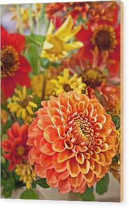 Warm Colored Flower Bouquet With Round Dahlia Wood Print by Valerie Garner