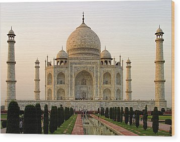 Warm Evening View Taj Mahal Wood Print