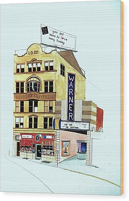 Wood Print featuring the painting Warner Theater by William Renzulli