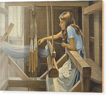 Warping The Loom  Wood Print by Paul Krapf