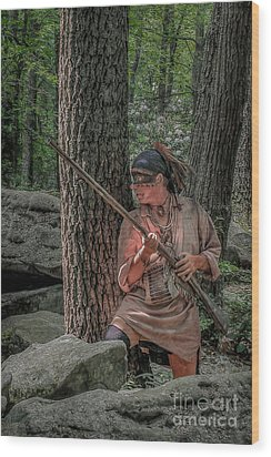 Warrior Stepping From Cover Wood Print by Randy Steele