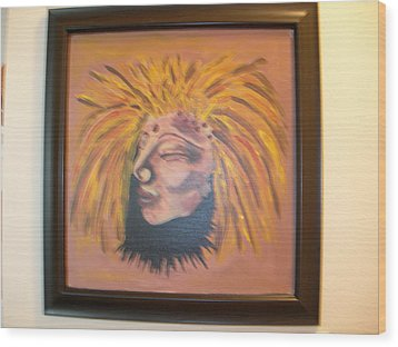 Wood Print featuring the painting Warrior Woman #1 by Sharyn Winters
