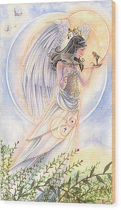 Warrior's Angel Wood Print by Sara Burrier