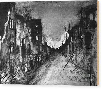 Wood Print featuring the drawing Warsaw Ghetto 1945 by Maja Sokolowska