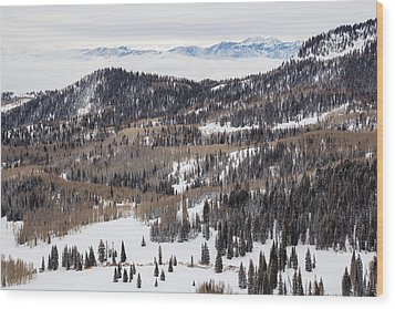 Wasatch Winter Wood Print by Adam Pender