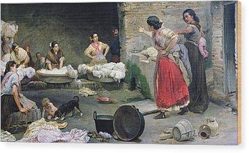 Washerwomen Disputing Wood Print by Jose-Jimenes Aranda