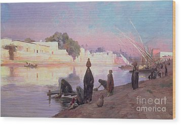 Washerwomen On The Banks Of The Nile Wood Print by Eugene Alexis Girardet
