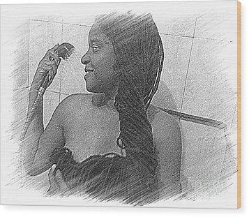 Washing All That Hair Wood Print by Fania Simon