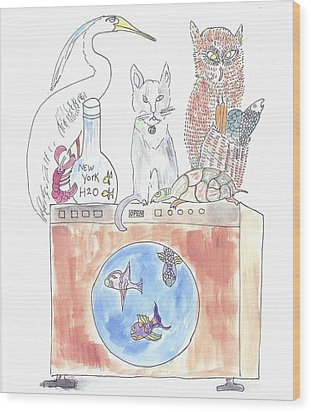 Wood Print featuring the painting Washing Machine Friends by Helen Holden-Gladsky