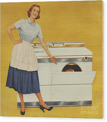 Washing Machines 1950s Usa Housewives Wood Print by The Advertising Archives