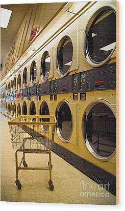 Washing Machines At Laundromat Wood Print by Amy Cicconi