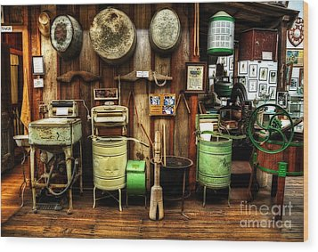 Washing Machines Of Yesteryear Wood Print by Kaye Menner