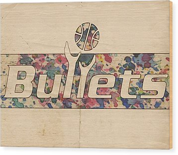 Washington Bullets Retro Poster Wood Print by Florian Rodarte