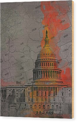 Washington City Collage Wood Print by Corporate Art Task Force