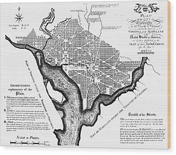 Washington, D.c. Plan, 1792 Wood Print by Granger