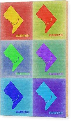 Washington Dc Pop Art Map 3 Wood Print by Naxart Studio