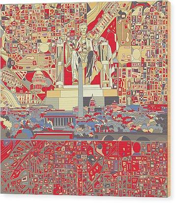 Washington Dc Skyline Abstract 6 Wood Print