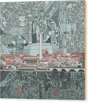 Washington Dc Skyline Abstract Wood Print