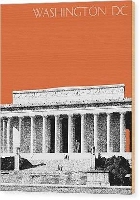 Washington Dc Skyline Lincoln Memorial - Coral Wood Print