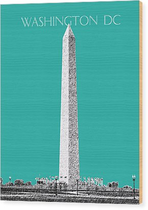 Washington Dc Skyline Washington Monument - Teal Wood Print