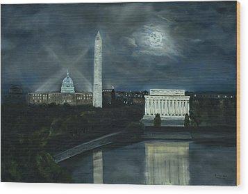Washington Dc Under Moonlight Wood Print by Brandon Hebb
