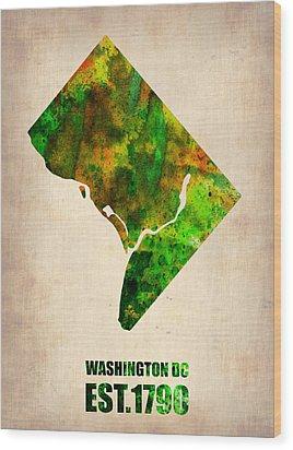 Washington Dc Watercolor Map Wood Print by Naxart Studio
