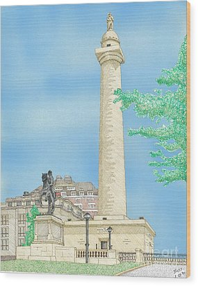 Washington Monument In Baltimore Wood Print by Calvert Koerber