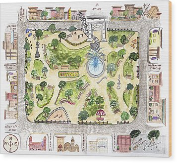 Washington Square Park Map Wood Print