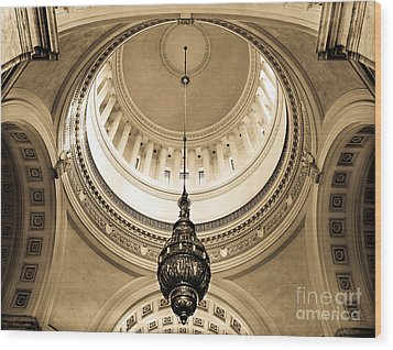 Wood Print featuring the photograph Washington State Capitol Building Rotunda Sepia by Merle Junk