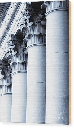 Wood Print featuring the photograph Washington State Capitol Columns In Blue by Merle Junk