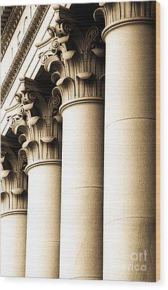 Wood Print featuring the photograph Washington State Capitol Columns In Sepia by Merle Junk