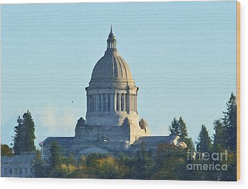Wood Print featuring the photograph Washington State Capitol by Susan Parish