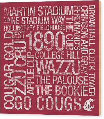 Washington State College Colors Subway Art Wood Print by Replay Photos