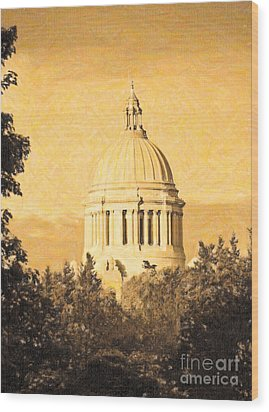 Wood Print featuring the photograph Washington State Legislative Building In Gold by Susan Parish