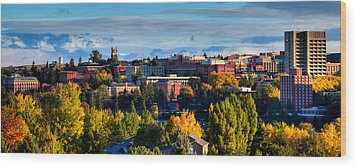 Washington State University In Autumn Wood Print