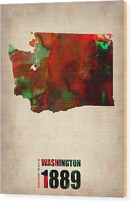 Washington Watercolor Map Wood Print by Naxart Studio