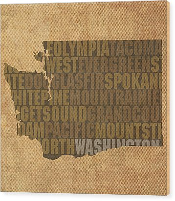 Washington Word Art State Map On Canvas Wood Print by Design Turnpike