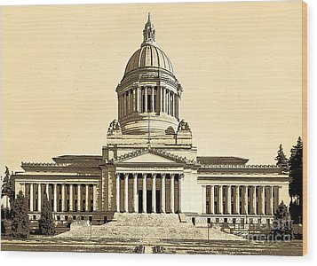 Wood Print featuring the photograph Washingtons State Capitol Building Sketch In Sepia by Merle Junk