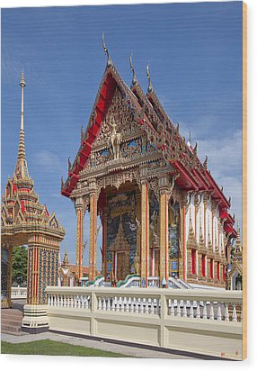 Wood Print featuring the photograph Wat Choeng Thalay Ordination Hall Dthp138 by Gerry Gantt
