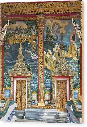 Wood Print featuring the photograph Wat Choeng Thale Ordination Hall Facade Dthp143 by Gerry Gantt